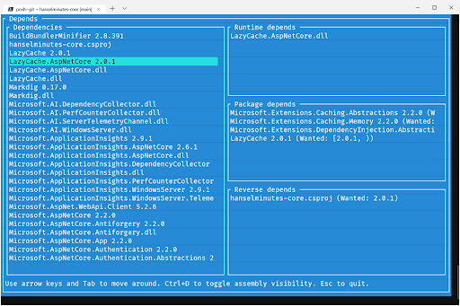 Dotnet Depends is a great text mode development utility made with Gui.cs
