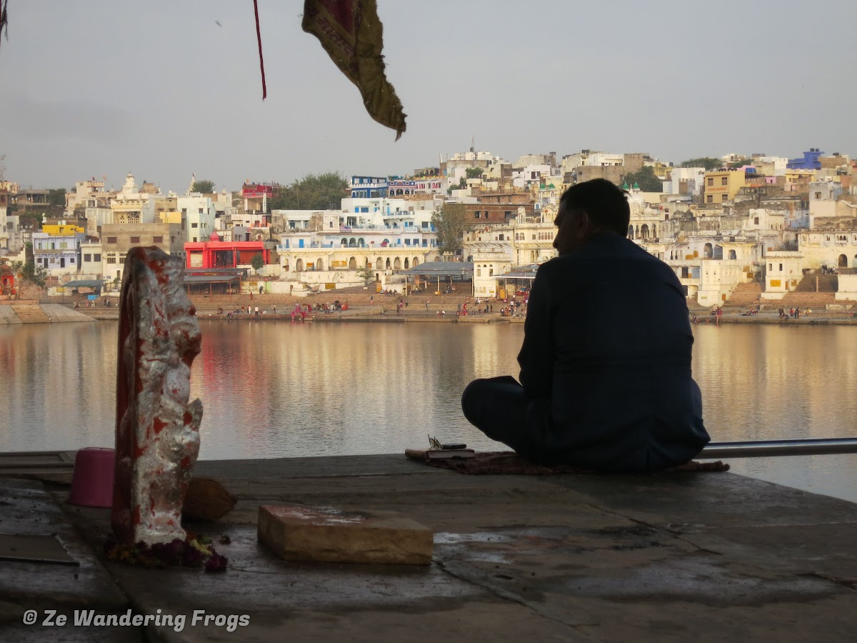 India. Rajasthan Pushkar . Sunrise over Pushkar Lake