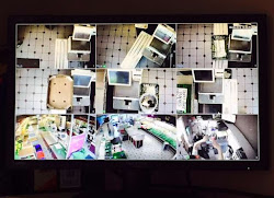 various angles from security cameras in an office