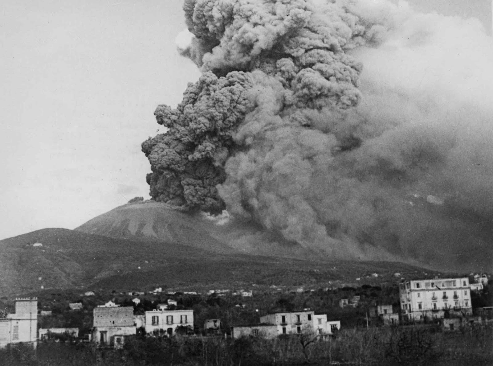 Mount Vesuvious erupting