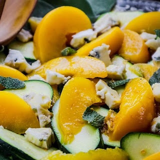 Peach Zucchini Salad Sage Blue Cheese & a Citrus Espresso Vinaigrette.