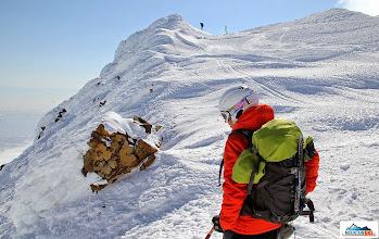 Photo: Aljona is checking proper ski route down