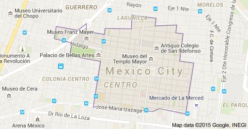 Map of Centro Histórico, Centro, Ciudad de México, D.F.