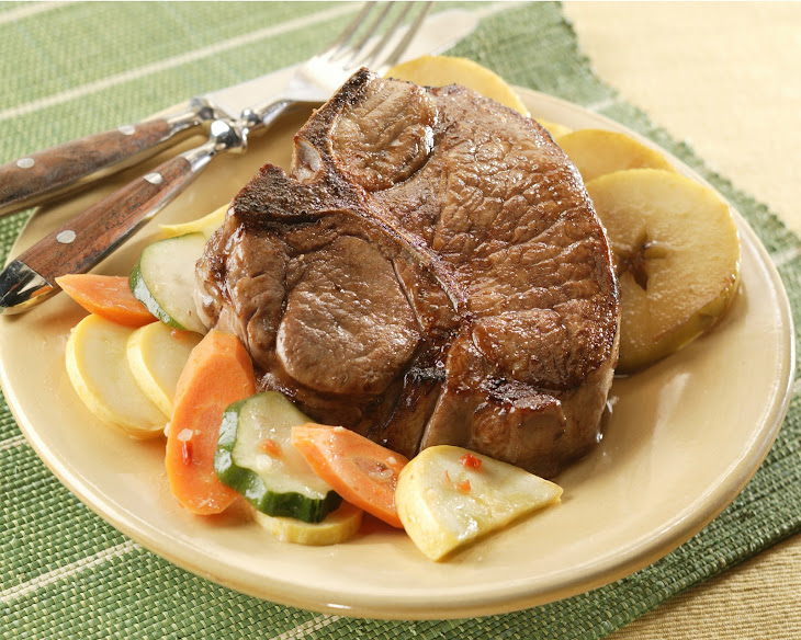 Broiled Pork Chops with Vegetable Medley and Cinnamon Apples Recipe