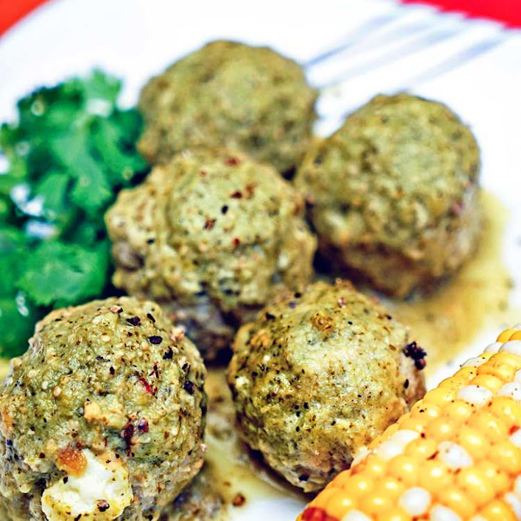Chiles Rellenos Meatballs with Tomatillo Sauce