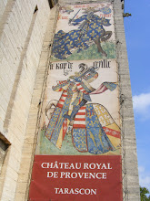 Photo: This multi-story banner welcomes visitors to the chateau entrance.
