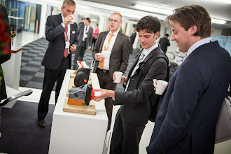 Photo: At the exhibition:  Students exploring one of the many exhibits. From left: Robert Weegenaar and Wouter Roobeek, Delft University of Technology, the Netherlands