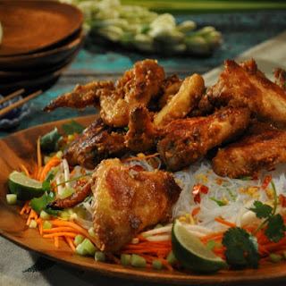 Peanut Butter Chicken Wings, Rice Noodle Salad with Peanut Crunch and Rice Wine Vinegar Dressing.