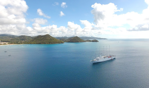 Wind Surf anchored in idyllic Rodney Bay in the north of St. Lucia (drone image).