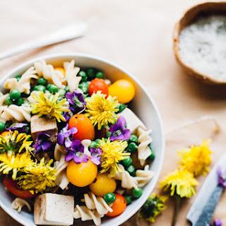 Wild Child Spring Pea Pasta Salad w/ Goji Tahini Sauce (Gluten Free, Vegan)