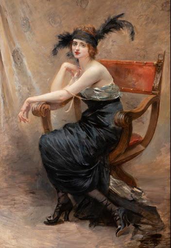 Madeleine-Jeanne Lemaire - Femme assise dans un fauteuil Dagobert