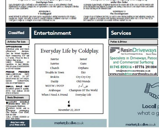Coldplay announces album using classified ads in local European newspapers.