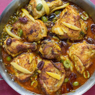 MOROCCAN CHICKEN WITH PRESERVED LEMONS & OLIVES.