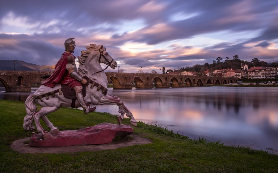 soldier and horse by Jorge Silva - Buildings & Architecture Statues & Monuments ( statue, long exposure, bride, river, street photography )