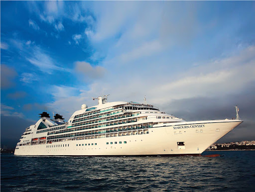 Seabourn-Odyssey-at-sea-closeup - Seabourn Odyssey carries 450 guests on wide-ranging itineraries, including the Caribbean, Mediterranean, South Pacific and elsewhere.
