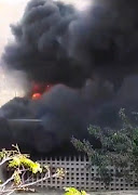 A screenshot from a video circulating online shows part of the Oval Residence at UKZN's Westville campus on fire