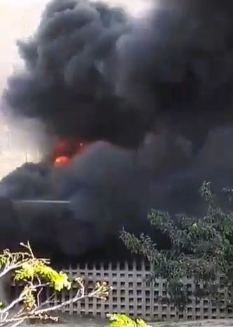 A screenshot from a video circulating online shows part of the Oval Residence at UKZN's Westville Campus on fire.