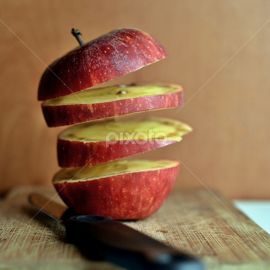 apple sliced by Herry Wibisono - Artistic Objects Still Life ( fruit, apple, slice, float )
