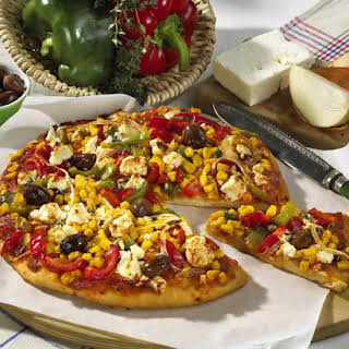 Vegetarian Pizza with Feta Cheese.