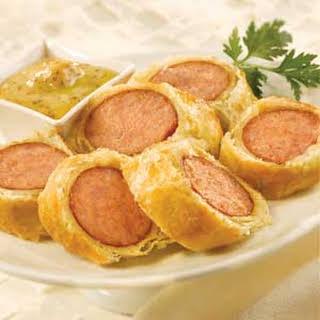Spicy Honey-Mustard Sausage Wraps.