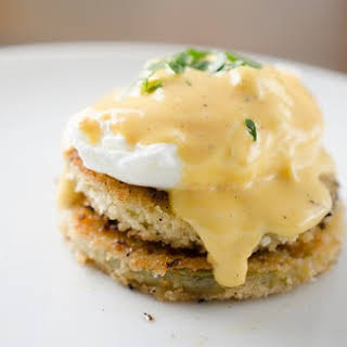 Fried Green Tomato Eggs Benedict with Blender Cajun Hollandaise.