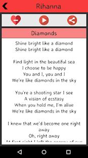 Rihanna Lyrics screenshot