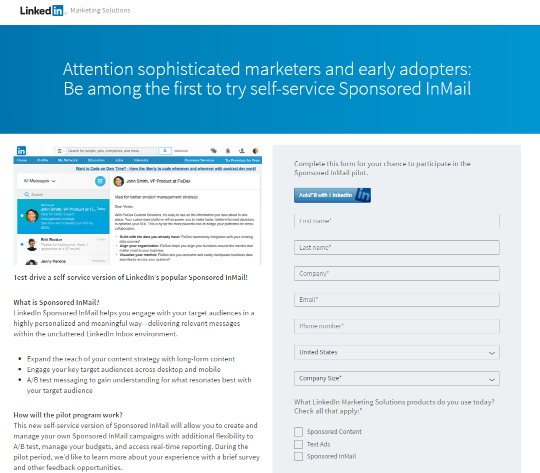 Great landing pages LinkedIn