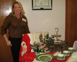Photo: Program, Linda Neymeyer with her Christmas Table Arrangement