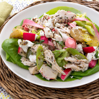 Hearty Chicken Salad with New Potatoes, Pickled Rhubarb & Goat Cheese.