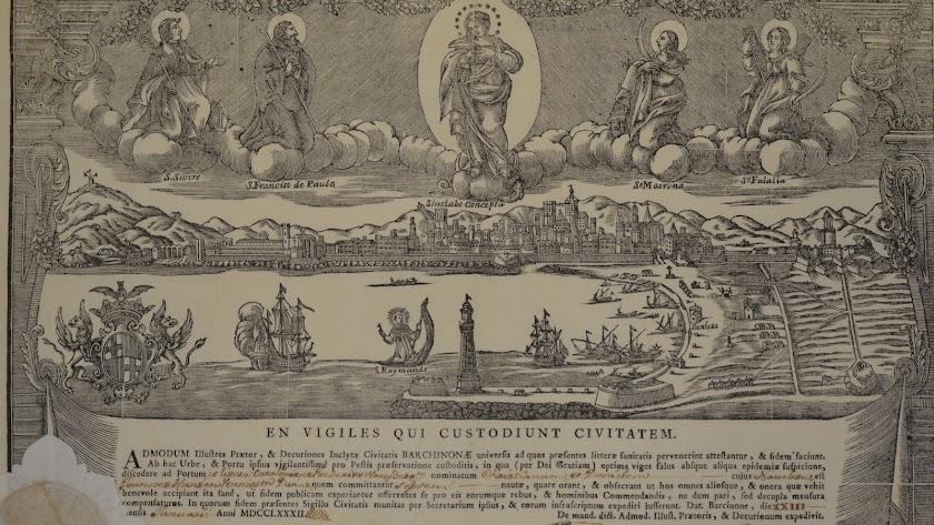 Patente de sanidad emitida el 23-1-1782 por la Junta de Sanidad de Barcelona a favor del bergantín Cristianum et Danielem.