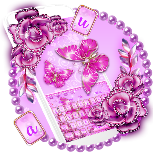 Pink Diamond Butterfly Keyboard