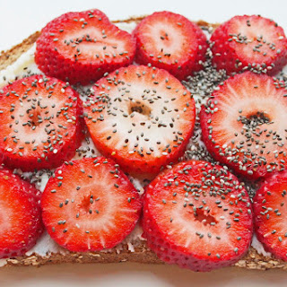 Whole Wheat Toast with Ricotta Cheese, Strawberries and Chia Seeds.
