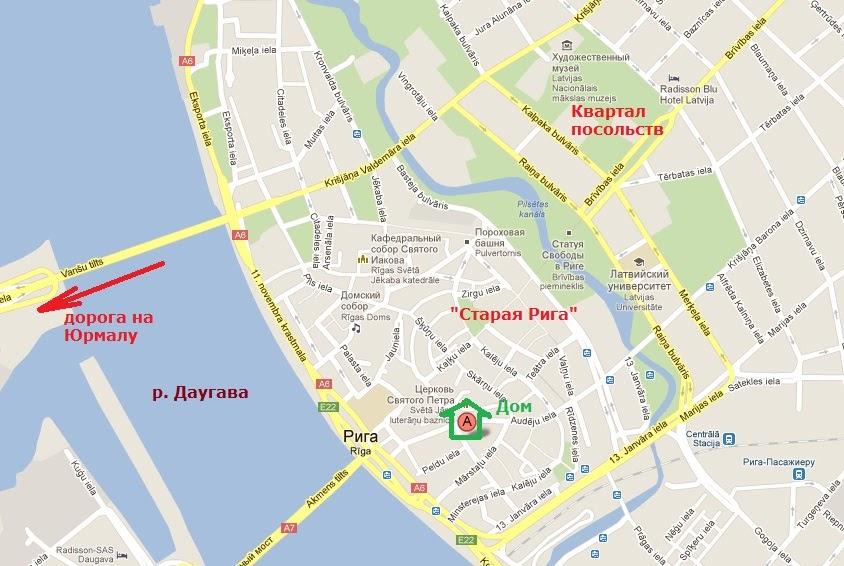 карта Риги