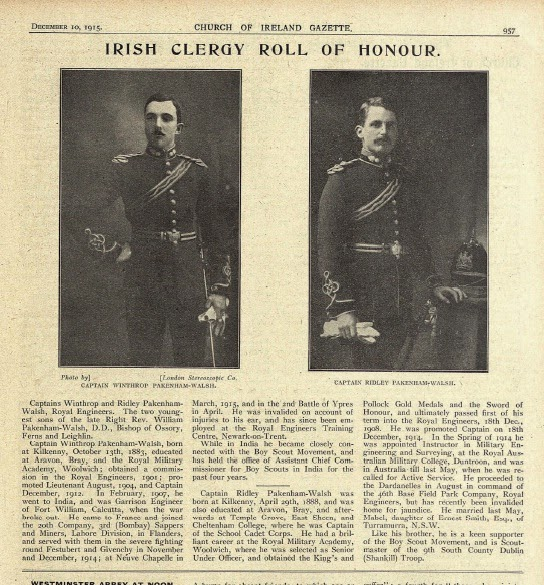 Photo: Capt. Winthrop Pakenham-Walsh & Capt. Ridley Pakenham-Walsh, 10 December 1915