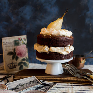 Salted Caramel Brownie Cake with Pears