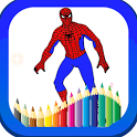 superheroes coloring pages games for kids icon