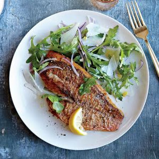 Red Snapper with Arugula Salad.
