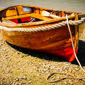 Row Boat by Stefen Dicks - Transportation Boats ( shore, wooden, row boat, rope, tethered, beach, boat, ashore )