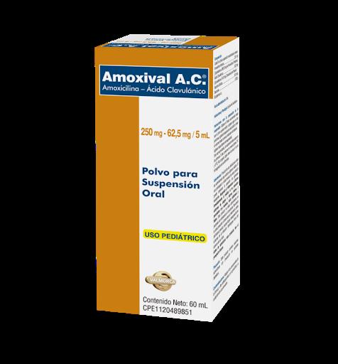 Amoxicilina + Ácido Clavulánico Amoxival A.C. 250mg-62,5mg/5mL 60mL Polvo Producto de Laboratorio Valmor