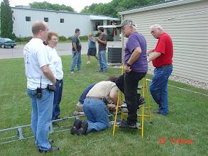Photo: Fixing the broken rotatorwires.