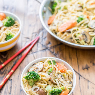 Udon Noodle Stir-Fry with Sesame Broth.