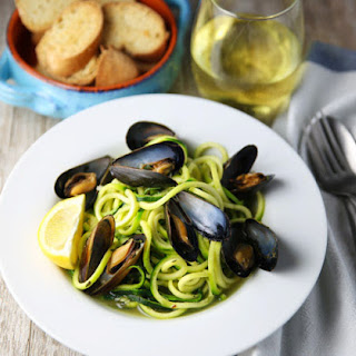 White Wine Mussels with Zucchini Noodles.