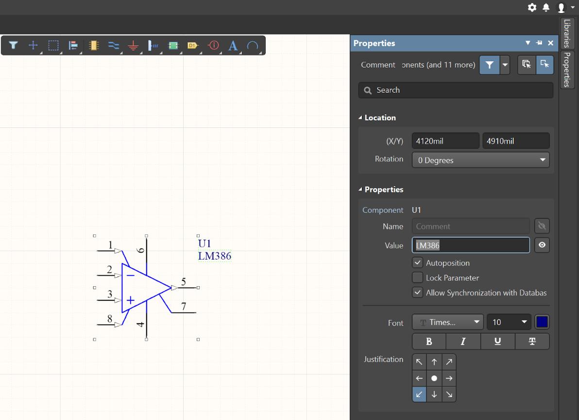 Altium Designer schematic tutorial properties panel