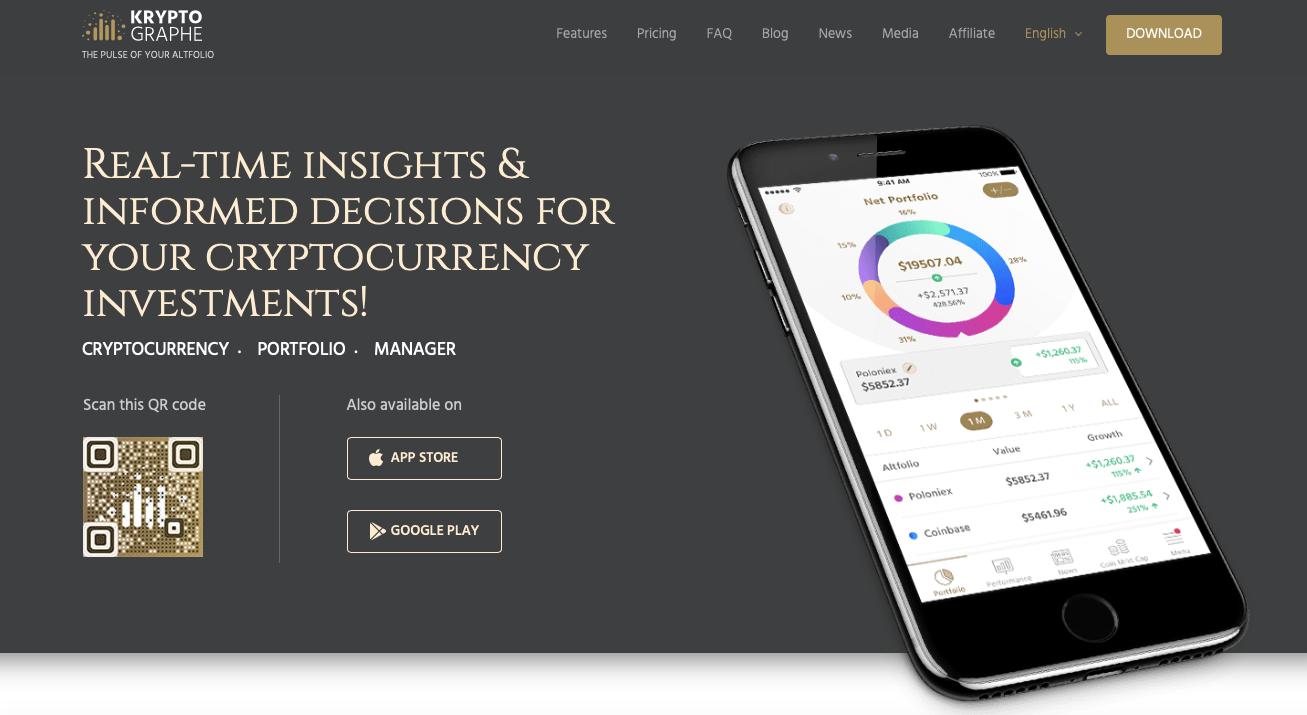 KryptoGraphe app landing page