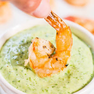 Easy Roasted Shrimp with Green Goddess Dip.