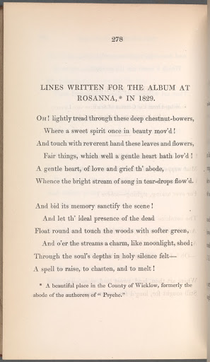 """Lines Written for the Album at Rosanna, in 1829"" in Poetical Remains of the Late Mrs Hemans"
