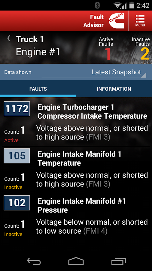 Cummins Fault Code Advisor- screenshot