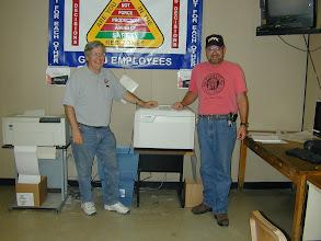 Photo: Elko, NV  UPRR Crew room  john Wilson, Ken Jewell test, high speed laser printers  k9vx  k0ip