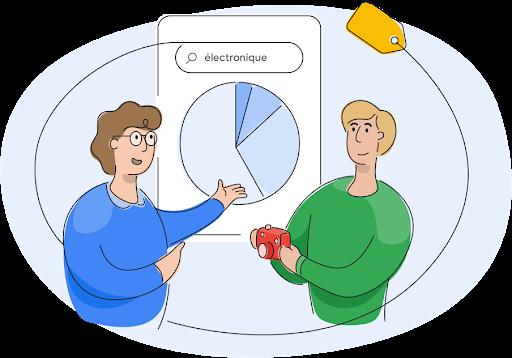 Un membre de l'équipe Google Shopping discutant avec un propriétaire d'entreprise de graphiques circulaires
