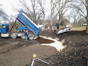 Photo: Placement of engineered soils in bio pond 11-14-2013